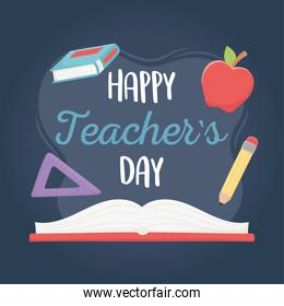 happy teachers day, school book apple ruler and pencil
