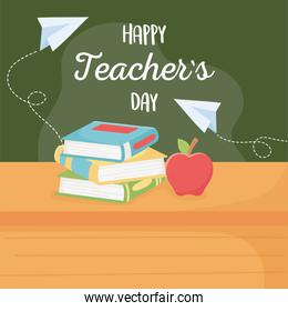 happy teachers day, school apple book and on table