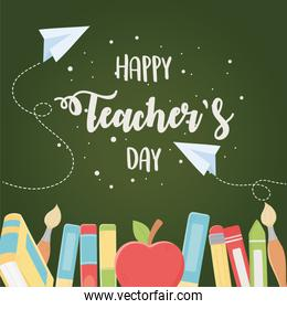 happy teachers day, school education elements apple and books