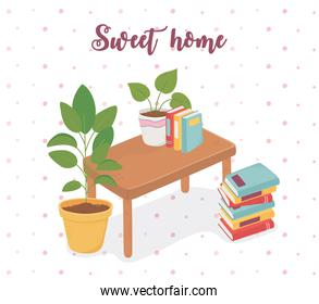 sweet home books potted plant on table