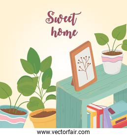 sweet home books potted plants interior picture furniture