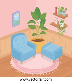 sweet home sofa chair potted plant on carpet shelves books plants frame room