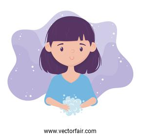 virus covid 19 prevention, young girl washing hands