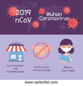 virus covid 19 prevention wear medical mask, avoid markets and crowded places, contact, sick people