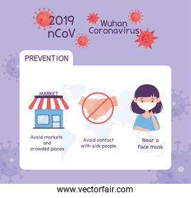 virus covid 19 prevention infographic avoid markets and crowded places, not handshake, wearing medical mask
