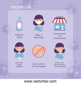 virus covid 19 prevention infographic with icons and text