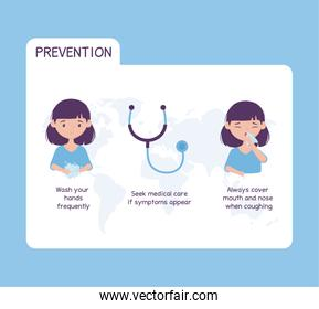 virus covid 19 prevention health care wash hands frequently, seek medical care if symptoms appear