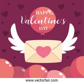 happy valentines day label with envelope, valentines letter