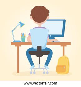 education online student boy sitting studying in laptop with backpack