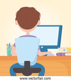 education online student boy sitting studying with computer in desk