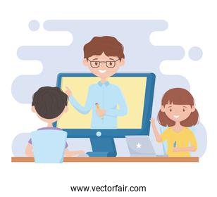 education online students with laptop watching class teacher