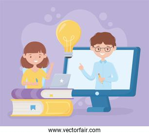 education online student girl and teacher in class virtual books