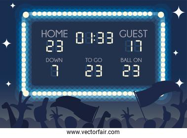 american football scoreboard , home and guest