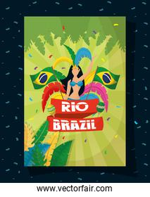 brazil carnival poster with beautiful garota