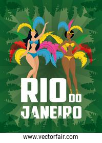 brazil carnival poster with beautiful interracial garotas