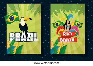brazil carnival poster with beautiful garota and toucan