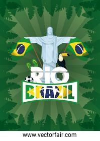 brazil carnival poster with corcovade christ and toucan
