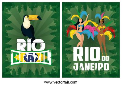brazil carnival poster with beautiful interracial garotas and toucan