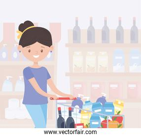 woman cartoon with full cart in supermarket food excess purchase