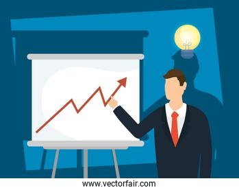 elegant businessman with paperboard and bulb