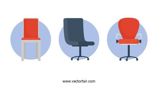 set of office chairs set icons