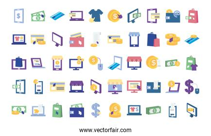 payments online icon set, flat style