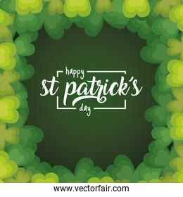 happy st patricks day card with green  clovers frame