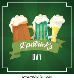 happy st patricks day card with beers drinks