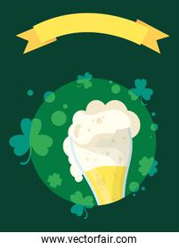 happy st patricks day card with beer drink