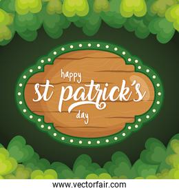 happy st patricks day card with clovers frame