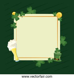 happy st patricks day card with square frame