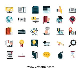 online education study technology school icons set isolated icon shadow