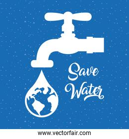 water day poster with tap and world planet in drop