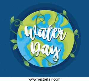 water day poster with world planet earth
