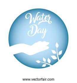 water day poster with hand human silhouette