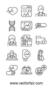 online health, medical assistance support consultation icon set covid 19 pandemic line icon