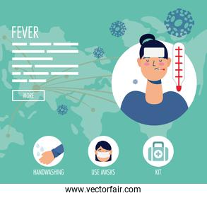 woman with coronavirus symptoms and prevention habits