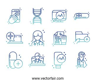 online health, medical assistance support consultation icon set covid 19 pandemic gradient line icon