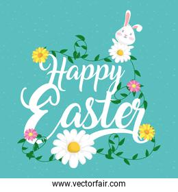 happy easter celebration card with lettering and flowers