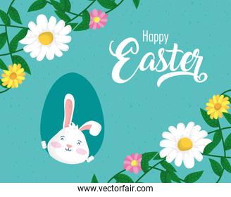 happy easter celebration card with rabbit and flowers