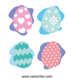 happy easter celebration card with eggs painted bundle