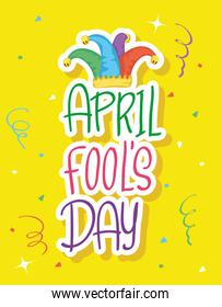 happy april fools day card with lettering and hat buffoon