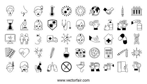 virus covid 19 pandemic respiratory illness icons set line style