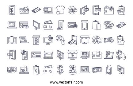 payments online icon set, line style