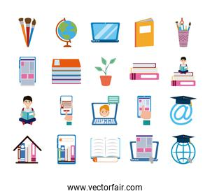 home education school learn supplies icons set flat style icon