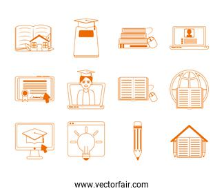 home education school learn supplies icons set line color style icon