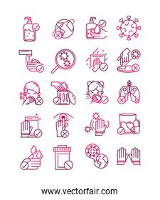 avoid and prevent spread of covid19 icons set gradient icon