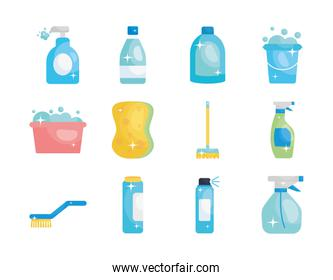 disinfection bottles and cleaning elements icon set, flat style