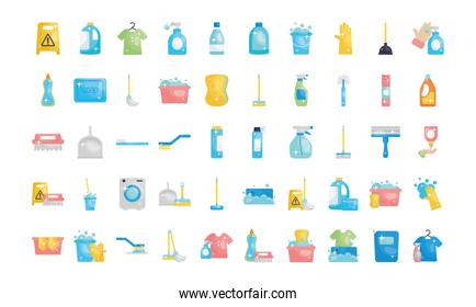 disinfection products and cleaning elements icon set, flat style