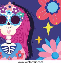 day of the dead, catrina with flowers decoration traditional mexican celebration